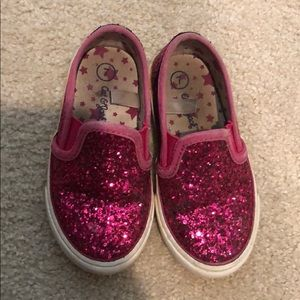 pink glitter sneakers, size 7